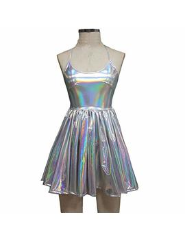 Pinda Summer Musical Festival Rave Clothes Holographic Wrap Circle Skater Dress (M, Silver) by Pinda