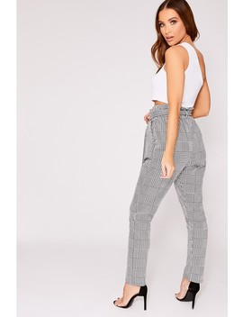 Otsie Black Dogtooth Paperbag Waist Trousers by In The Style