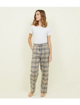 Mustard Flannel Check Pyjama Joggers by New Look