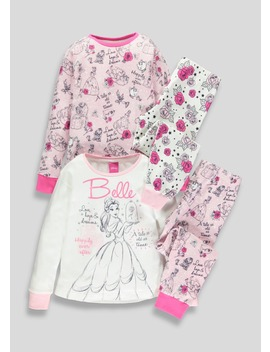 Kids 2 Pack Disney Beauty And The Beast Belle Pyjamas (2 9yrs) by Matalan