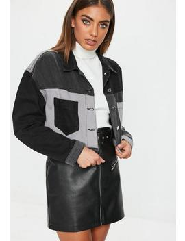 Black Colourblock Patchwork Denim Cropped Jacket by Missguided