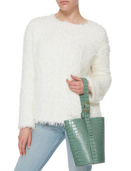 Crocodile Embossed Small Classic Bucket Bag by Trademark