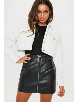 White Ecru Cropped Borg Mix Denim Jacket by Missguided