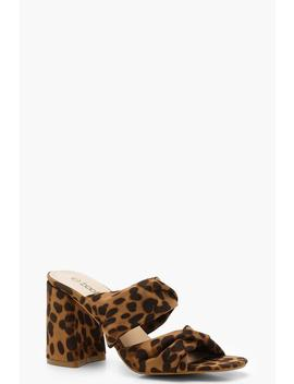 Leopard Flared Heel Mules by Boohoo