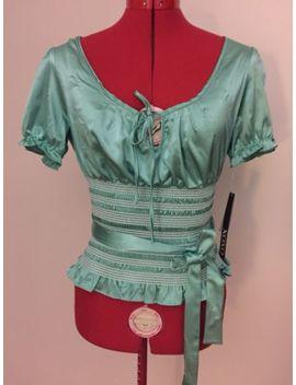 Xoxo Top Sz M~Mint Green~Smocked Waist Line~Puff Sleeve W/Elastic~Ties W/Keyhole by Xoxo