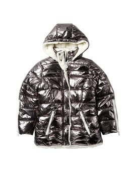 Metallic Bubble Faux Shearling Lined Jacket (Big Girls) by Dkny