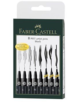 Faber Castell 167137   Tuschestift Pitt Artist Pen, 8er Kunststoffetui, Schwarz by Amazon
