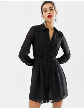 Warehouse Shirt Dress With Pin Tuck Detail In Black by Warehouse