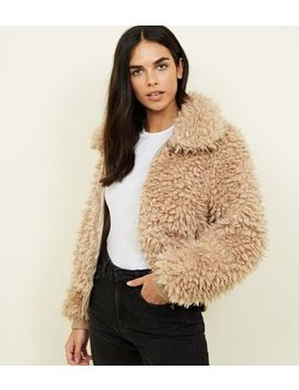 Tan Curly Faux Fur Bomber Jacket by New Look