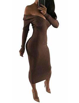 Ttyllmao Women's Long Sleeve Off Shoulder Bodycon Stretch Ribbed Party Sweater Dress by Ttyllmao