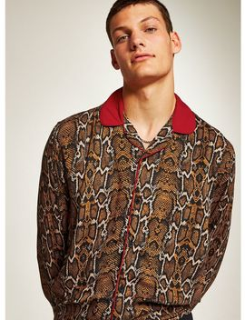Snake Print Long Sleeve Revere Shirt by Topman