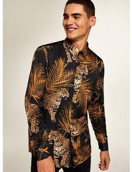 Premium Leopard Print Long Sleeve Shirt by Topman