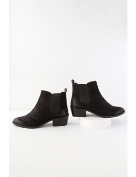 Kira Black Suede Pointed Toe Ankle Booties by Report