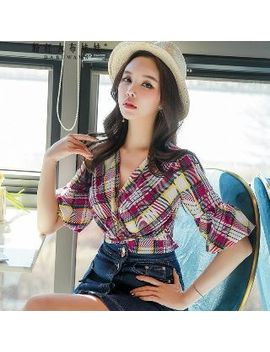 Dabuwawa   Short Sleeve Check Ruffled Top by Dabuwawa