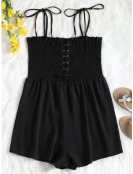 Cami Lace Up Smocked Romper   Black S by Zaful