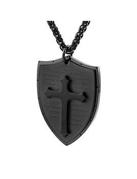Hzman Shield Armor Of God Ephesians 6:16 17, Faith Cross Stainless Steel Pendant Necklace by Hzman