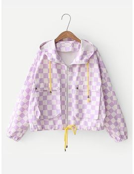 Checkered Hooded Jacket by Sheinside