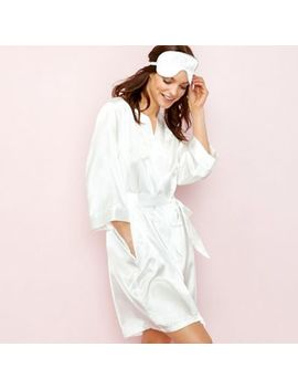 The Collection   White Satin Diamante 'bridal' Dressing Gown With Eye Mask by The Collection