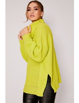 Lybbi Lime Roll Neck Oversized Knitted Jumper by In The Style