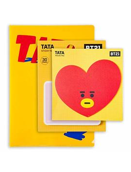 Bt21 Official Bts Merchandise By Line Friends   Tata Character Cute 3pc Office Supplies Set With File Folder, Sticky Note, And Mouse Pad by Bt21