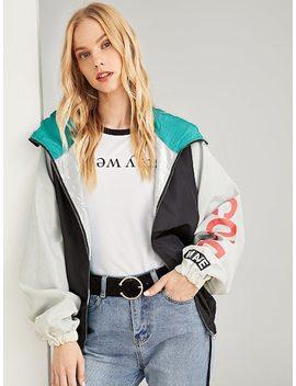 Letter Print Color Block Hooded Jacket by Sheinside