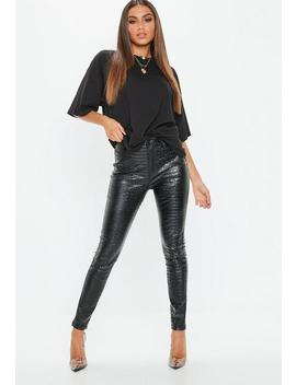 Black Faux Leather Croc Print Pants by Missguided