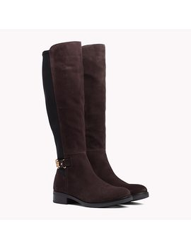 Monogram Buckle Stretch Boots by Tommy Hilfiger
