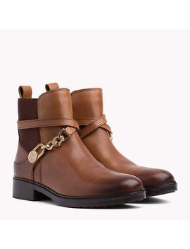 Chain Embellished Leather Ankle Boots by Tommy Hilfiger
