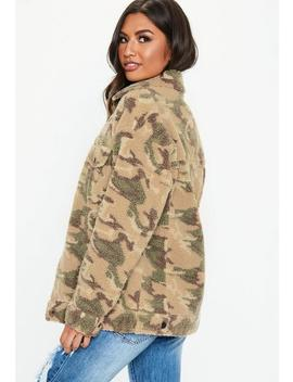 Khaki Oversized Camo Print Teddy Jacket by Missguided