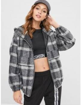 Checked Hooded Coat   Multi by Zaful