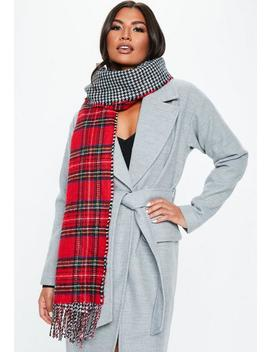Red Double Face Plaid Scarf by Missguided