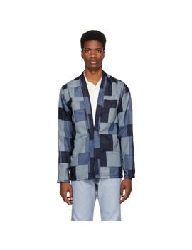 Blue Denim Patchwork Kimono Jacket by Naked & Famous Denim