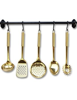 Gold/Brass Cooking Utensils For Modern Cooking And Serving, Kitchen Utensils  Stainless Steel Cooking Utensils 5 Pcs Gold Serving Spoon, Gold Soup Ladle, Pasta Serving Fork, Spatula, Kitchen Skimmer by Styled Settings
