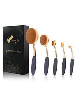 Oval Makeup Brush Set Of 5 Pcs Professional Oval Toothbrush Foundation Contour Concealer Eyeliner Blending Cosmetic Brushes Tool Set By Beauty Kate (Rose Gold Black) by Beauty Kate