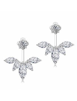Odette 18 K White Gold Plated Clear Crystal Leaf Feather Ear Stud Front And Back Earrings by Odette