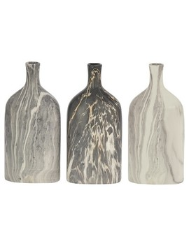"Ceramic Bottle Vases Gray/Cream 13"" 3pk   Olivia & May by Shop This Collection"