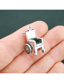 2 Wheelchair Charms Antique Silver Tone 3 D   Sc5121 by Etsy