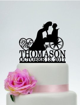 Wheelchair Wedding Cake Topper,Mr And Mrs Cake Topper With Surname,Groom In Wheelchair,Custom Cake Topper,Personalized Cake Topper C189 by Etsy