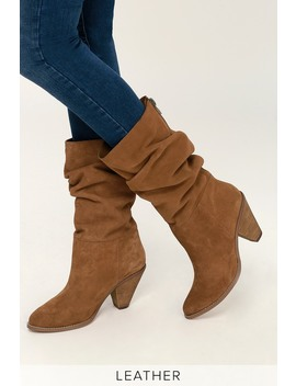 Stella Rusty Brown Split Suede Leather Mid Calf Boots by Chinese Laundry