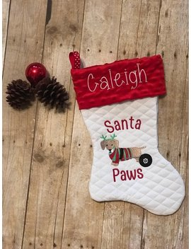 Monogrammed Pet Christmas Stocking, Dog In Cart On Stocking, Dachshund Dog Stocking, Dog Stocking, Rescue Dog Stocking, Dog In Wheelchair by Etsy