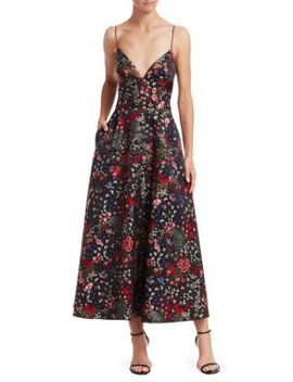 Sleeveless Floral A Line Midi Dress by Ml Monique Lhuillier