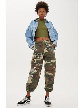 Embellished Camo Trousers by Topshop
