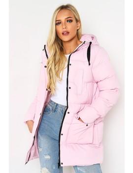 Pink Oversized Longline Puffer Coat by Lasula