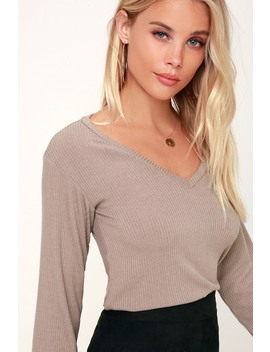 Tilbury Taupe Ribbed V Neck Long Sleeve Top by Project Social T