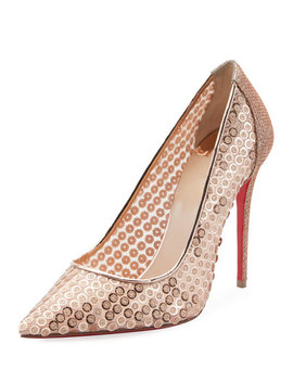 Sequined Lace Red Sole Pumps by Christian Louboutin