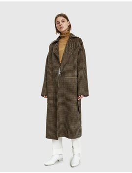 Alamo Houndstooth Robe Coat by Nanushka