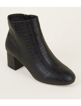 Wide Fit Black Faux Croc Block Heel Ankle Boots by New Look