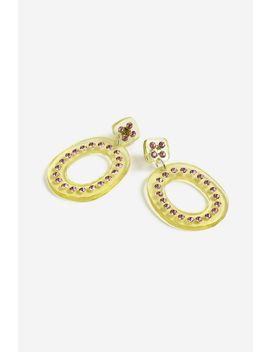 Resin Hoop Earrings With Pink Crystals by Topshop