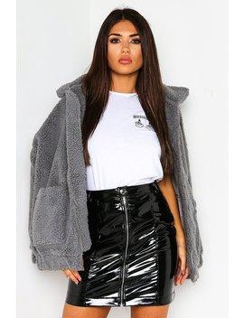 Grey Teddy Fur Pocket Jacket by Lasula