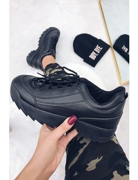 Cora Black Chunky Platform Trainers by Misspap